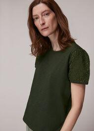 Broderie Puff Sleeve T-Shirt