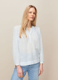 Stripe Cotton Voile Blouse Blue/Multi