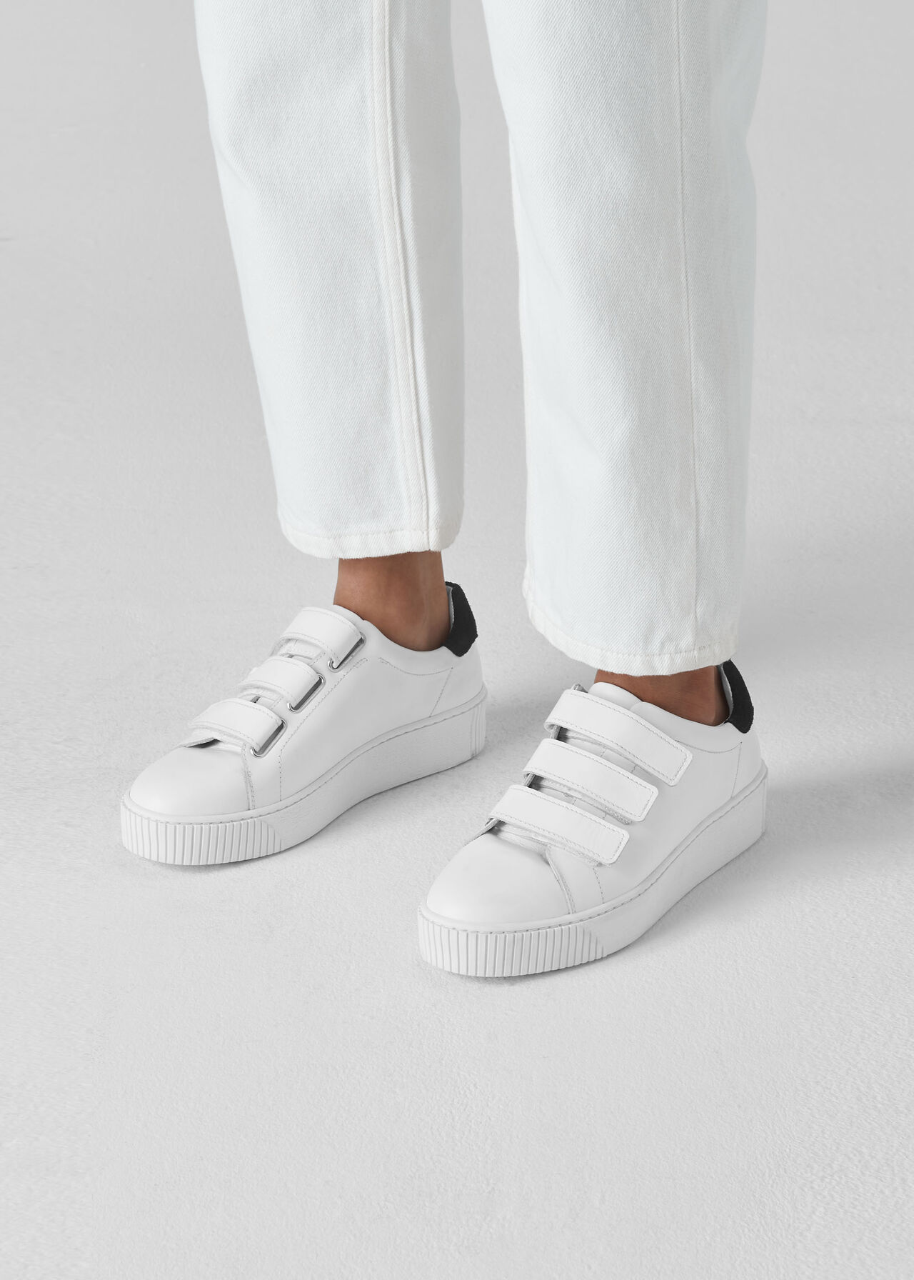 Flax Velcro Trainer White
