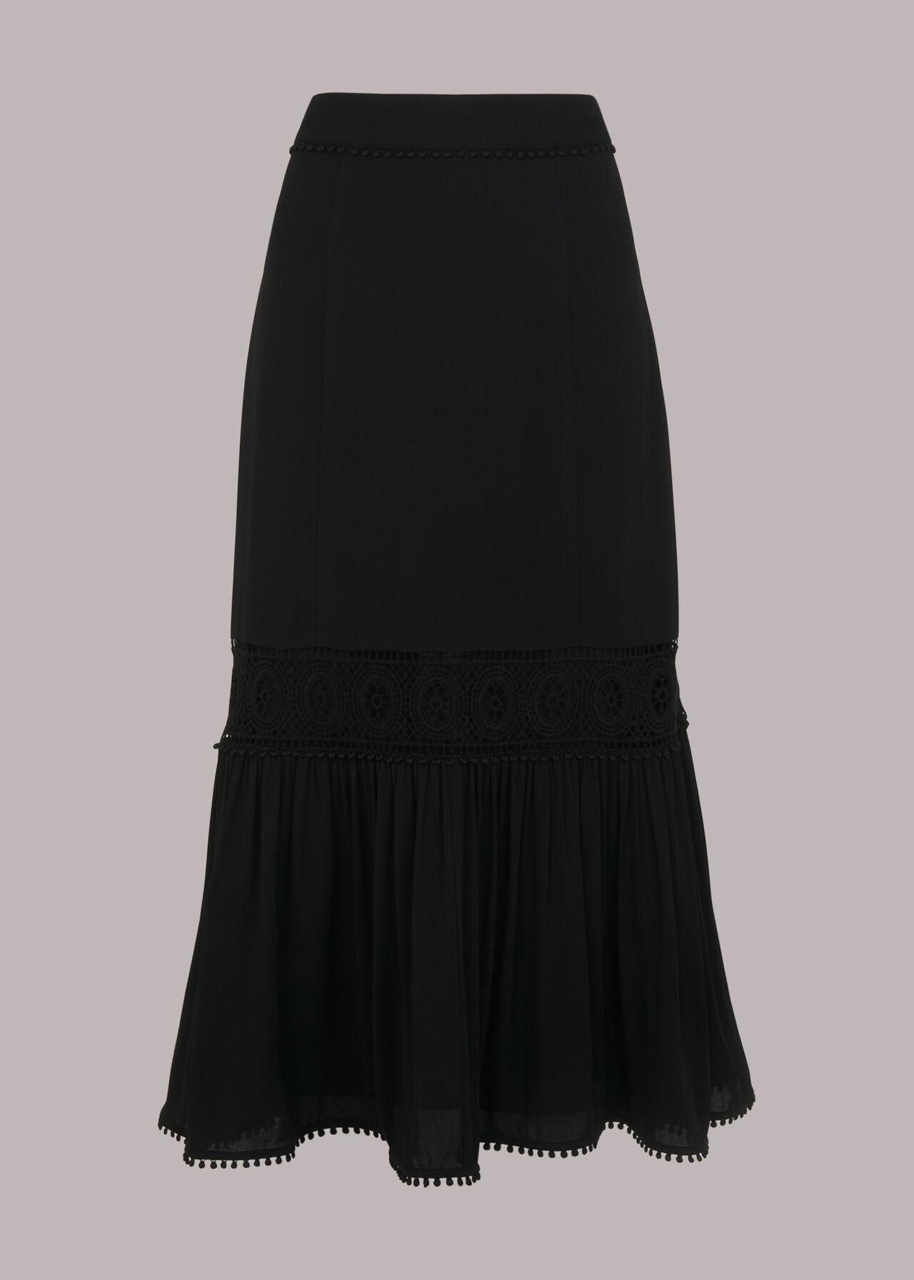 Ada Crochet Detail Skirt Black