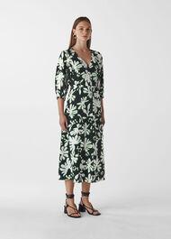 Palm Leaf Print Silk Dress Green/Multi
