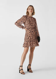 Brushed Cheetah Flippy Dress Leopard Print