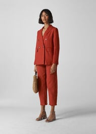 Linen Double Breasted Blazer Rust