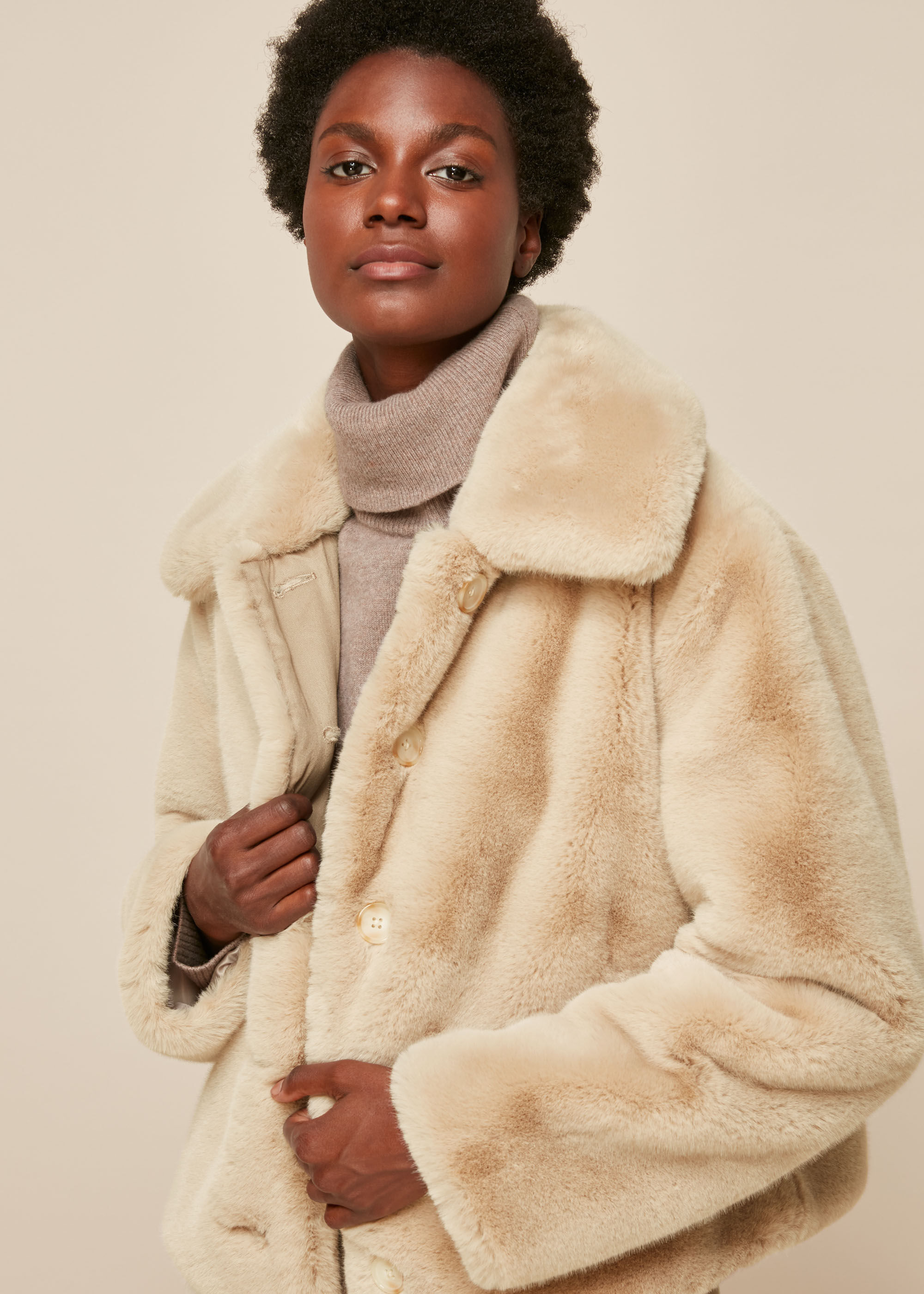 Whistles Women Short Faux Fur Coat