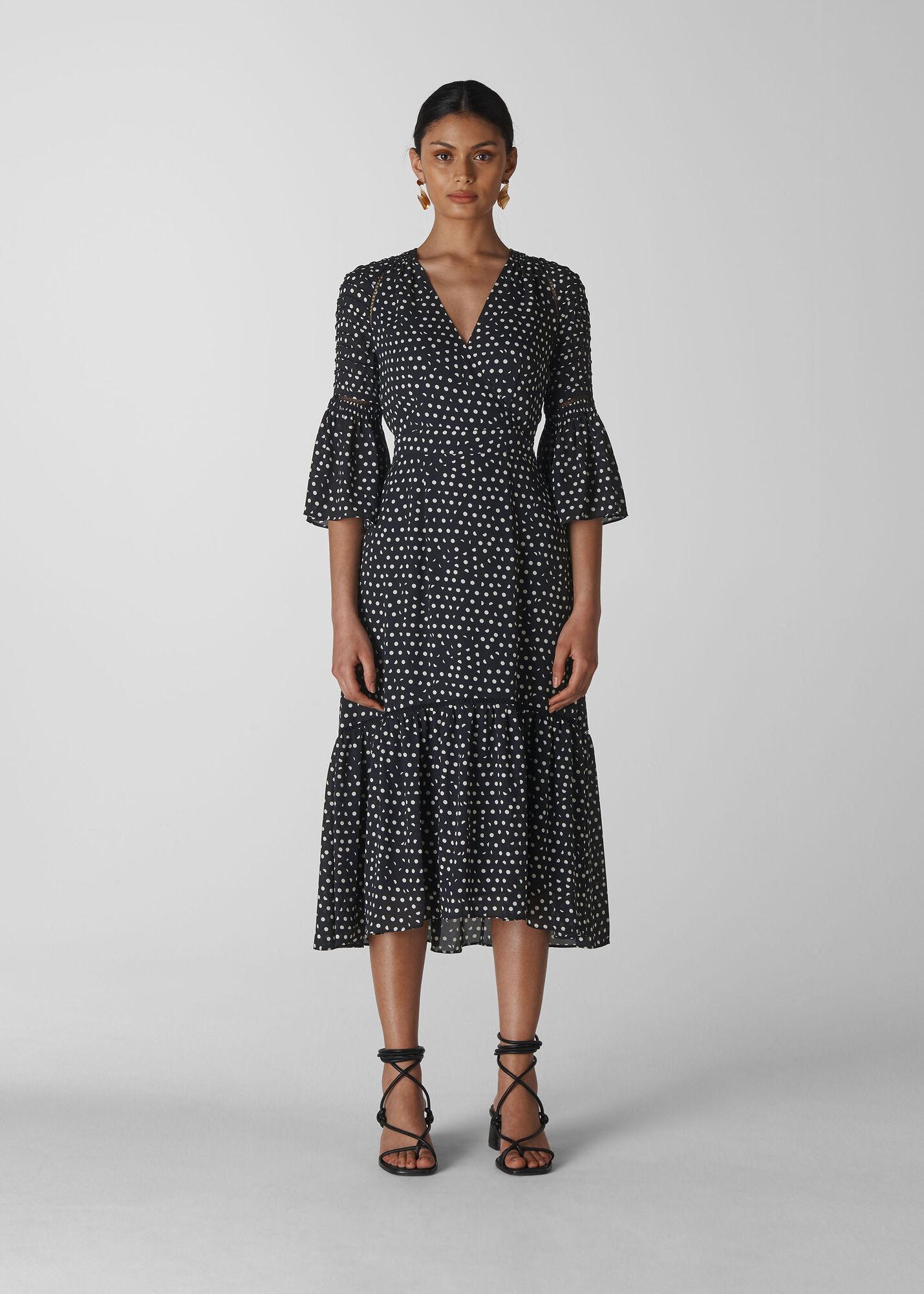 Advika Spot Midi Dress