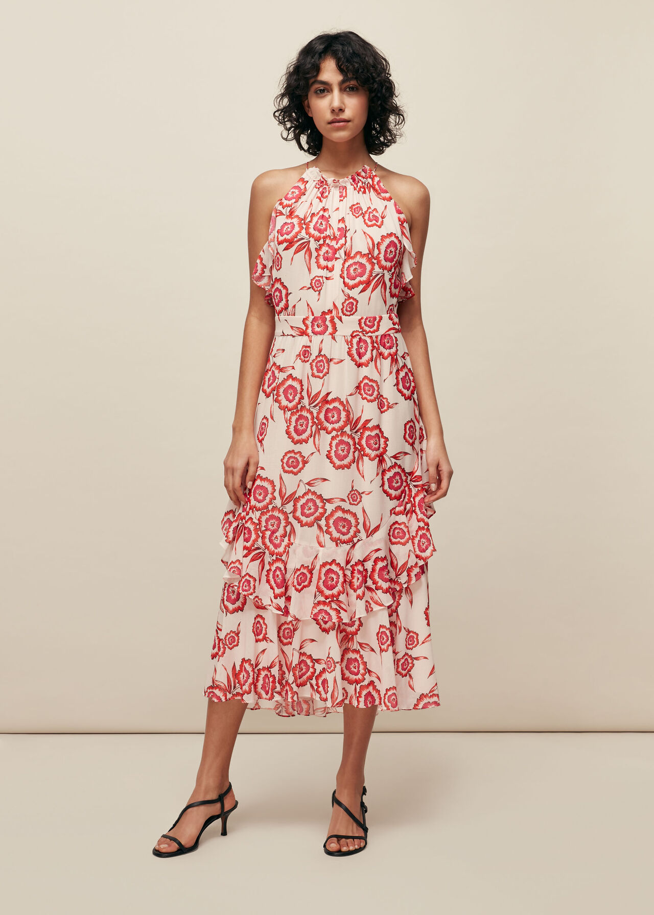Devina Diagonal Floral Dress Pink/Multi