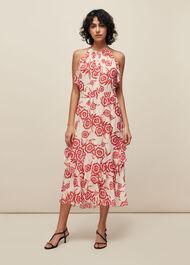 Devina Diagonal Floral Dress Pink/Multi