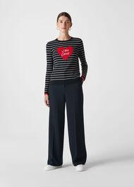 Whistles Mon Coeur Heart Stripe Knit