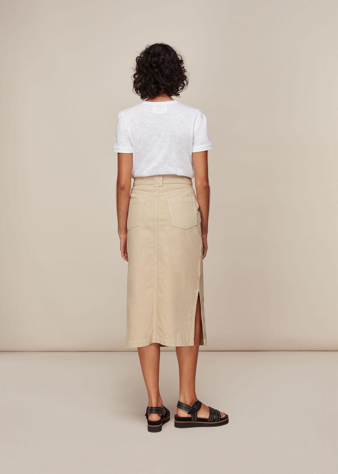 Utility Denim Skirt Stone