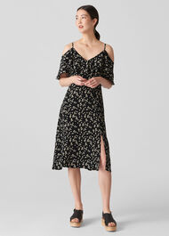 Daisy Print Frill Dress Black/Multi