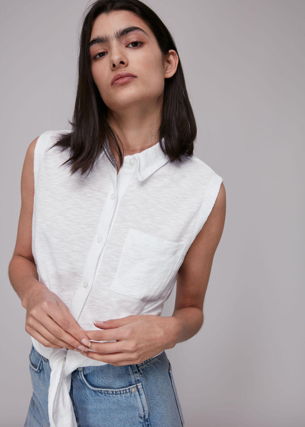Tie Front Sleeveless Shirt
