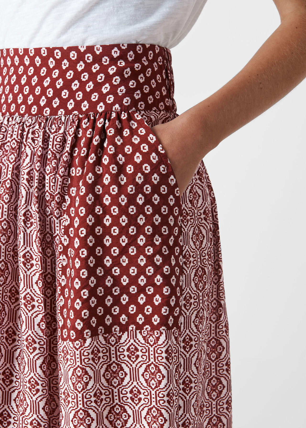 Woodblock Print Skirt Multicolour