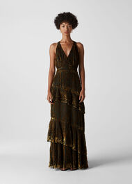 Edith Reed Print Maxi Dress Gold