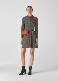 Autumn Floral Shirt Dress Black/Multi