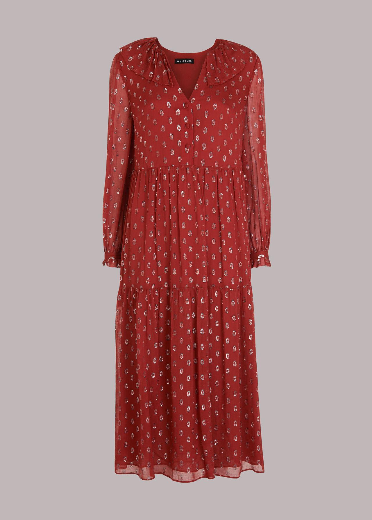 Frill Detail Dobby Midi Dress