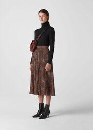 Abstract Animal Longline Skirt Brown/Multi