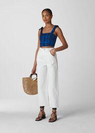Check Tie Linen Bralette Blue/Multi