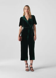 Layla Silk Velvet Jumpsuit Dark Green