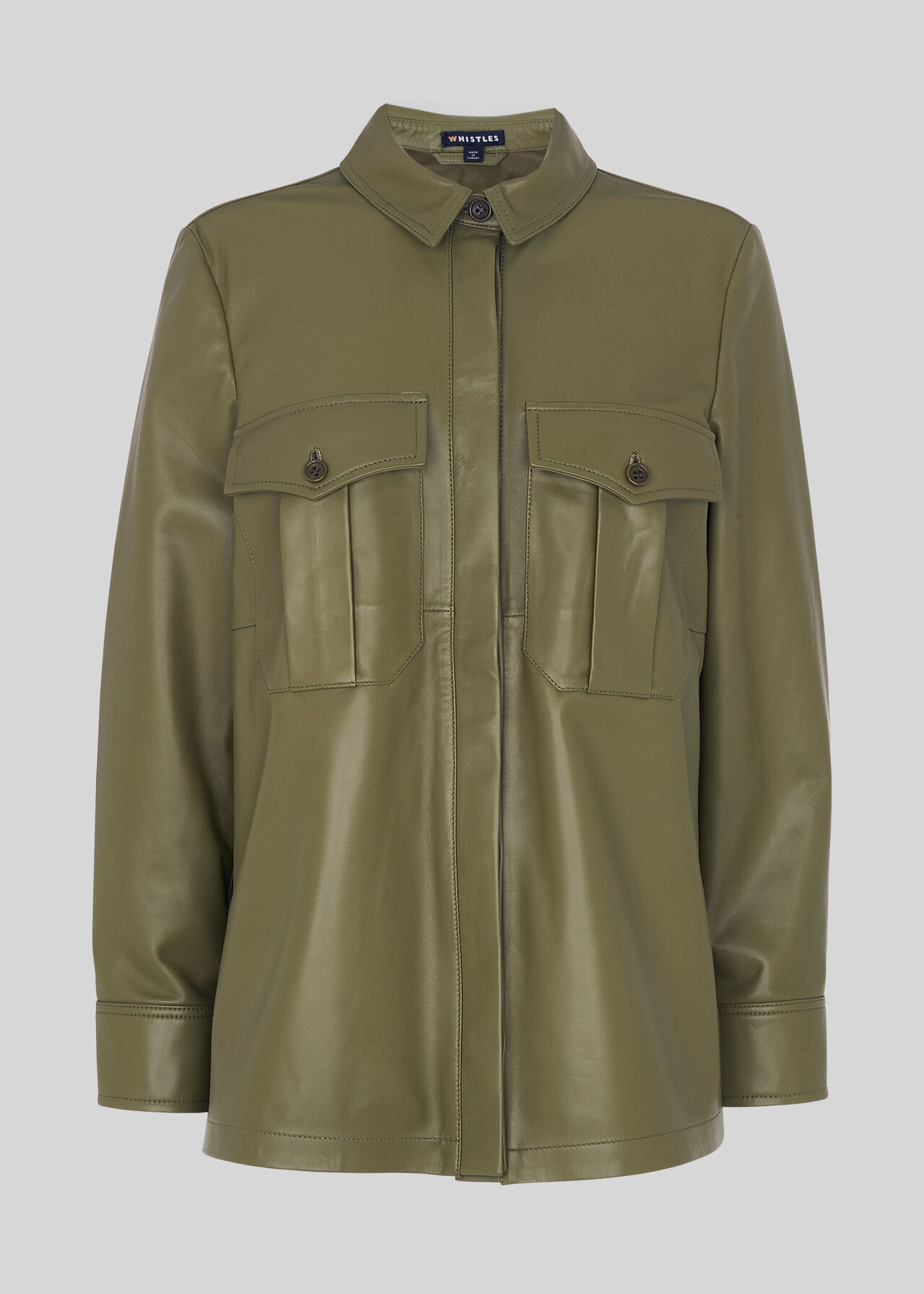 Leather Utility Shirt Khaki