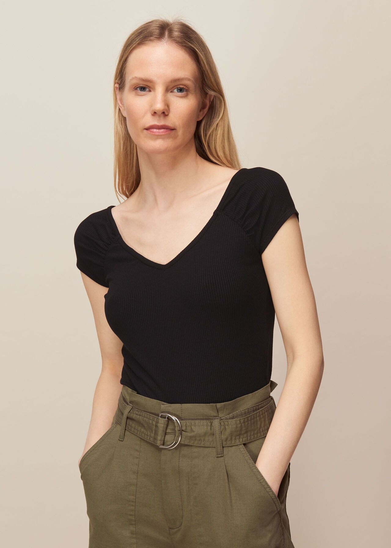 Alice Ribbed Top Black