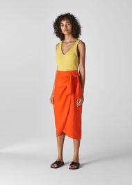 Layla Linen Sarong Skirt Orange