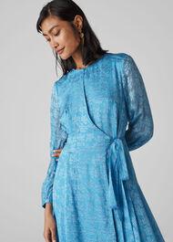 Devore Tie Waist Dress Pale Blue