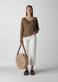 Leopard Print Linen Knit Leopard Print