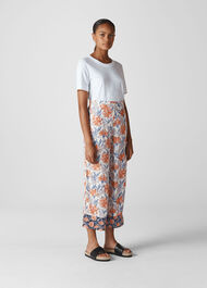 Floral Border Print Trouser Multicolour