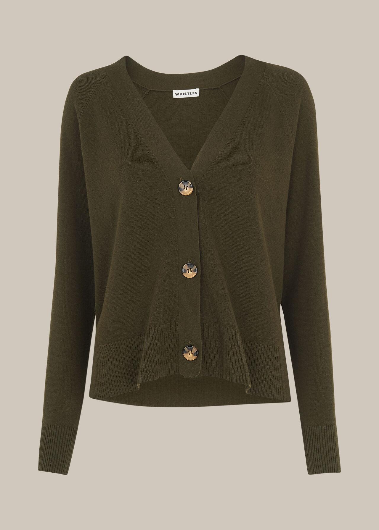 Button Front Cardigan Khaki