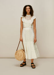 Mixed Lace Frill Skirt Ivory