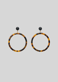 Large Tort Ring Resin Earring Brown/Multi