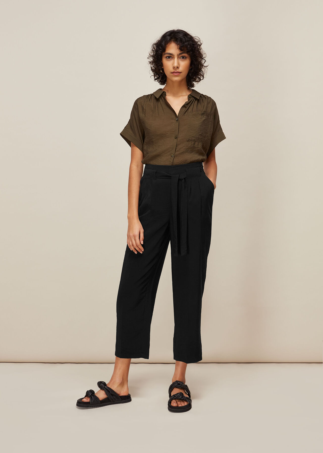 Belted Casual Crop Trouser Black