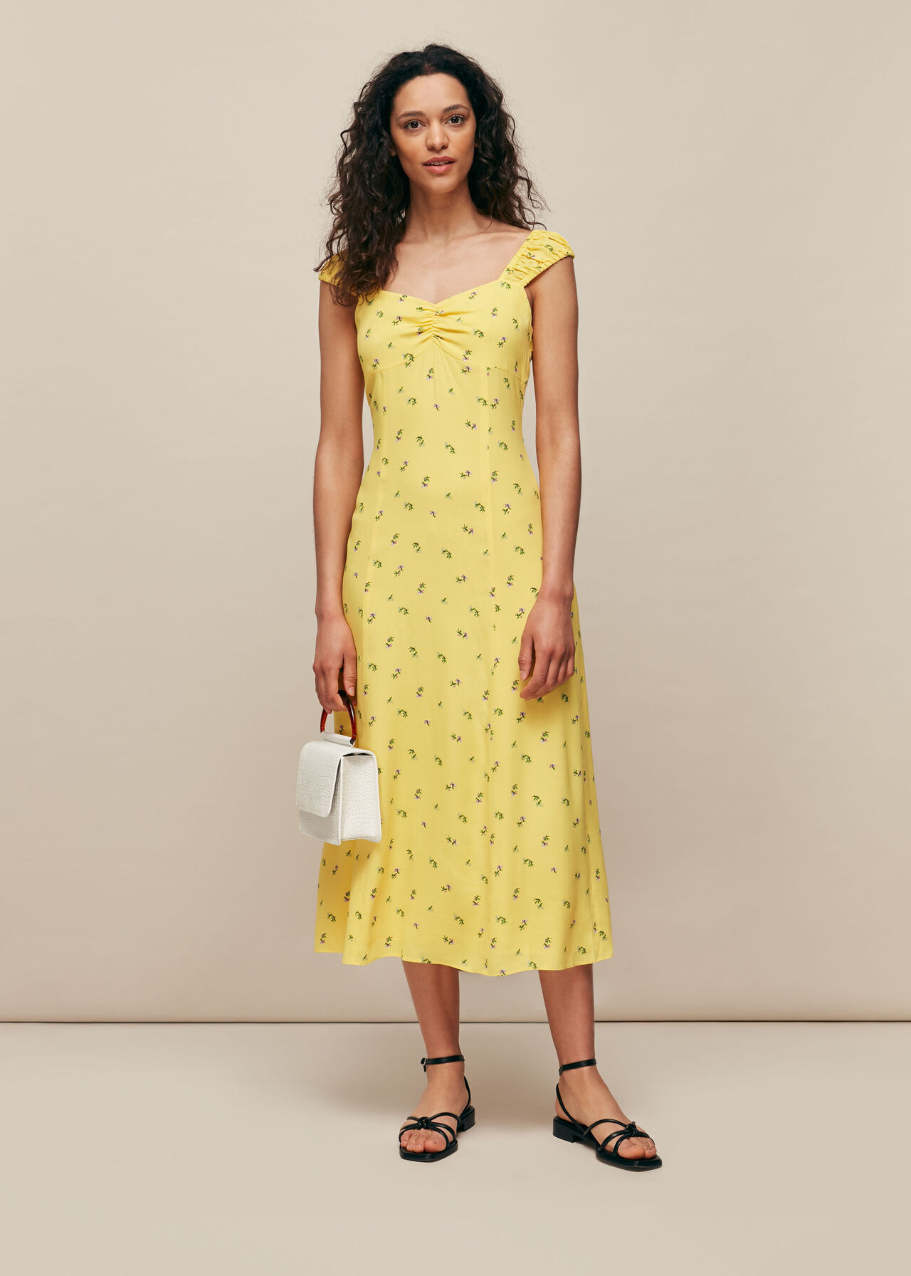 Forget Me Not Print Dress Yellow/Multi