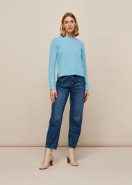Puff Sleeve Merino Wool Knit Pale Blue