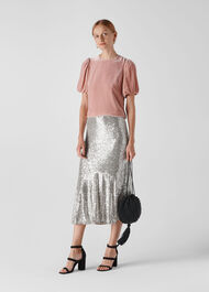 Suki Sequin Skirt Silver