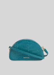 Jasmin Croc Half Moon Bag Teal