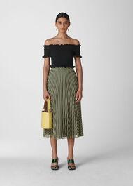 Gingham Pleated Skirt Navy/Multi
