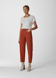 Stripe Relaxed Linen Tee Black and White