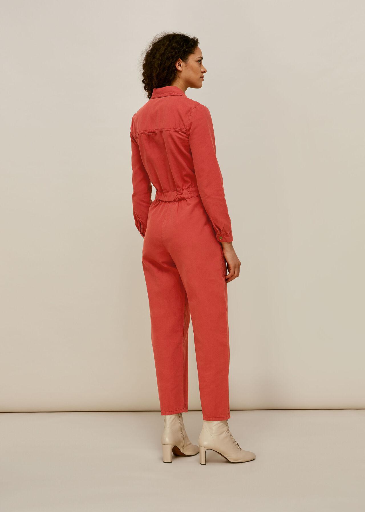 Gabby Denim Jumpsuit Dark Pink