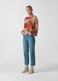 Cable Intarsia Wool Knit Multicolour