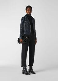 Agnes Pocket Leather Biker Navy