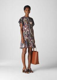 Palm Print Shirt Dress Multicolour
