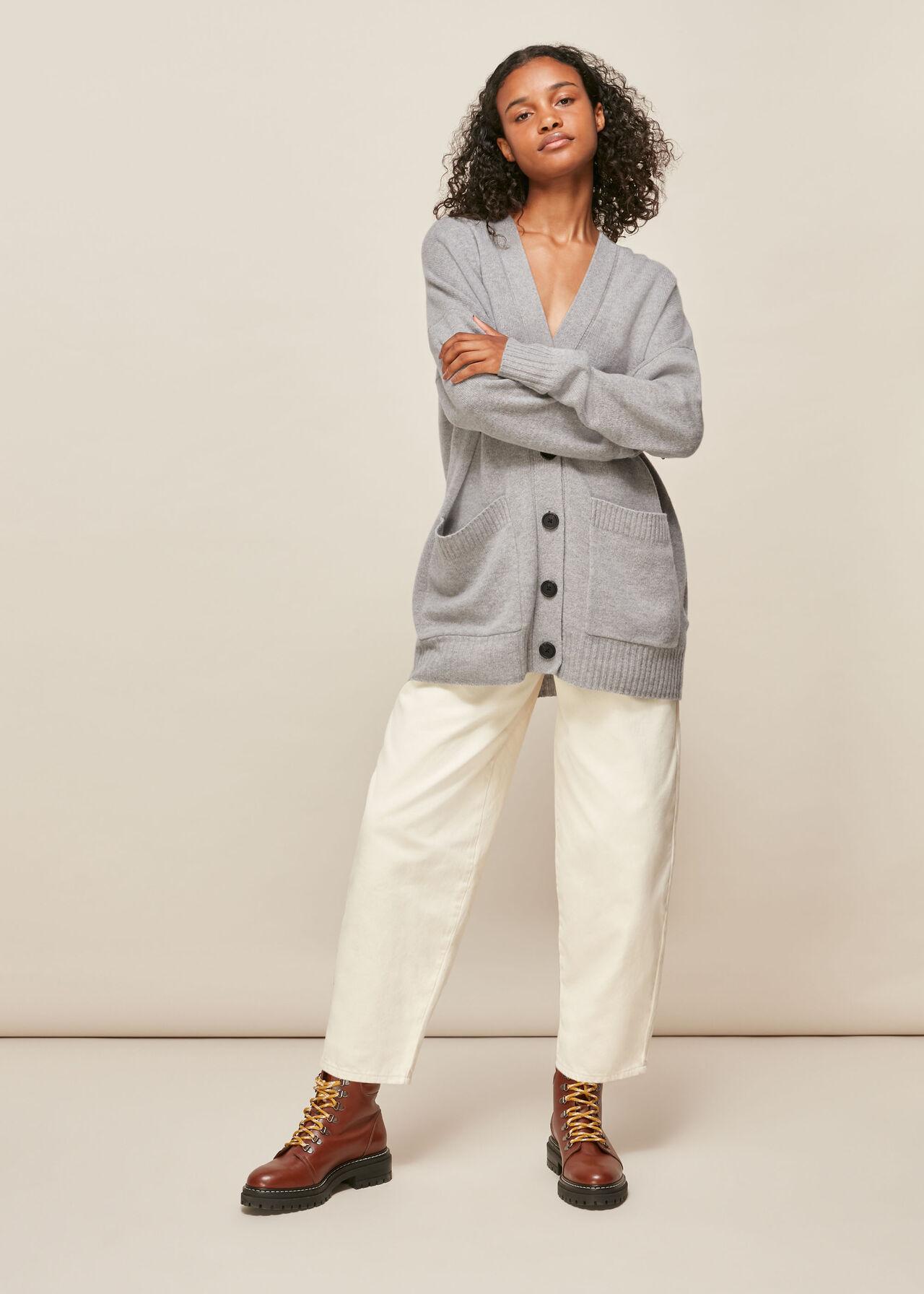 Long line Pocket Wool Cardigan