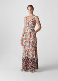 Floral border Print Maxi Dress Multicolour
