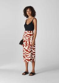 Graphic Zebra Linen Skirt Multicolour