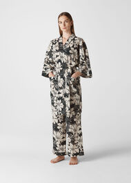 Birds Of Paradise Kimono Gown Black and White
