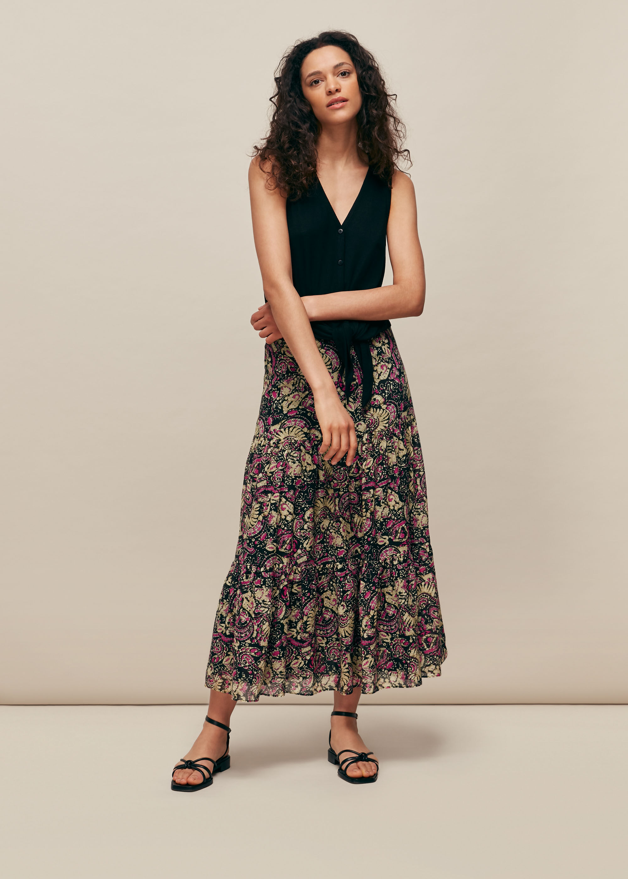 Whistles Women Batik Print Silk Mix Skirt