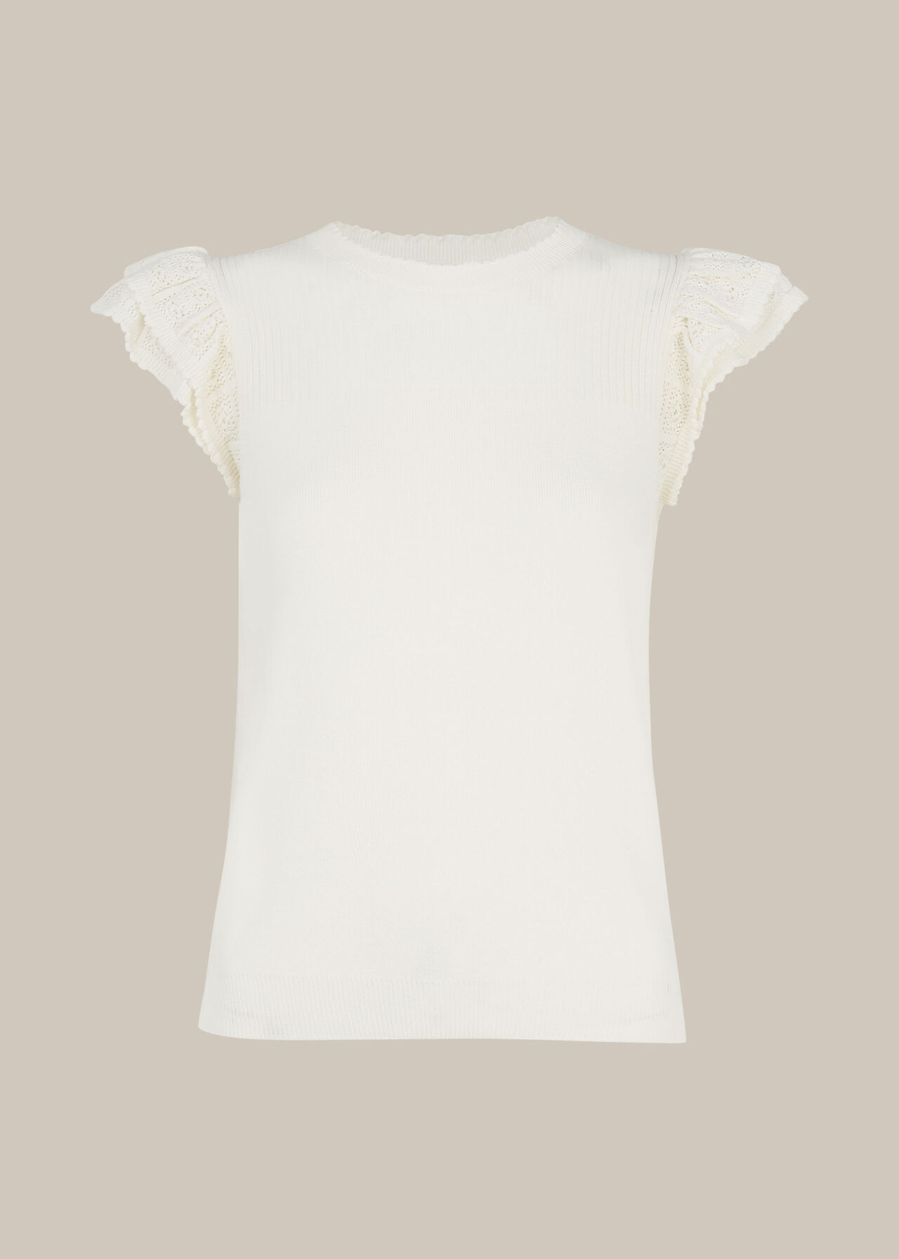 Pointelle Frill Sleeve Top Ivory