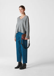 Oversized V Neck Knit Grey Marl