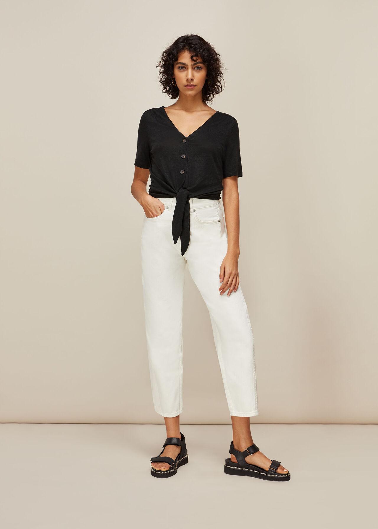 Linen Button Front Tie Top